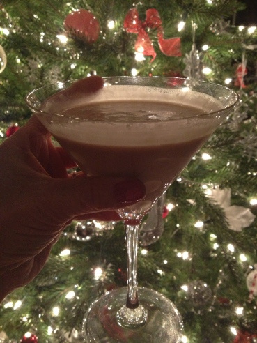 Protein shake in Martini glass