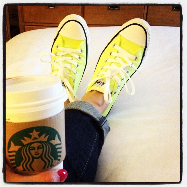yellow chucks & starbucks